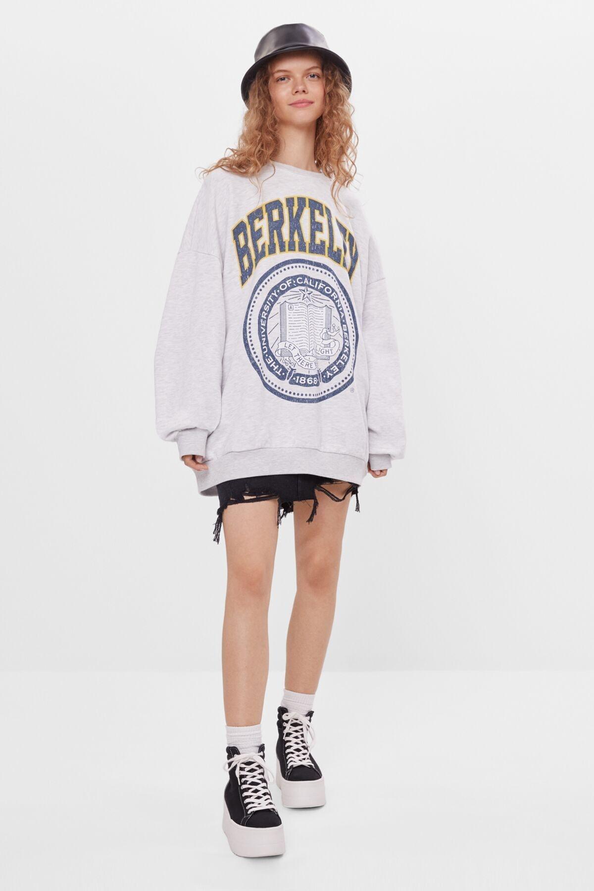 Bershka Kadın Gri Baskılı Sweatshirt