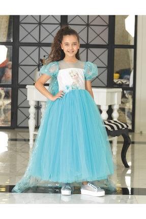 Kız Çocuk Buz Mavi Elsa Elbisesi 05290
