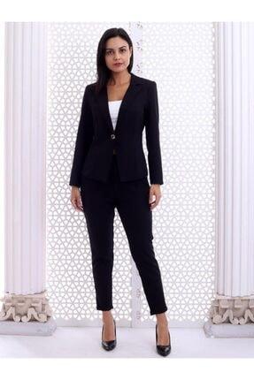 HOPANNİ Kadın Siyah Düz Pantolon Ceket Takım 1