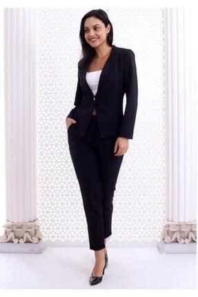HOPANNİ Kadın Siyah Düz Pantolon Ceket Takım 3