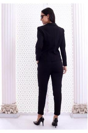 HOPANNİ Kadın Siyah Düz Pantolon Ceket Takım 4
