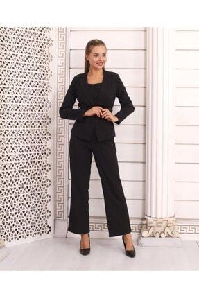 HOPANNİ Kadın Siyah Düz Pantolon Ceket Kuşaklı Takım 1