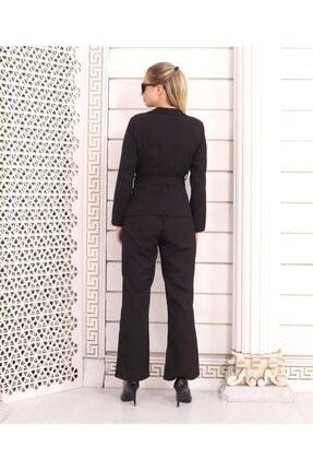 HOPANNİ Kadın Siyah Düz Pantolon Ceket Kuşaklı Takım 3