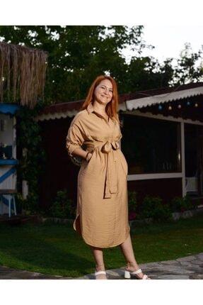 CALALUNA Kadın Bej Gömlek Elbise 0