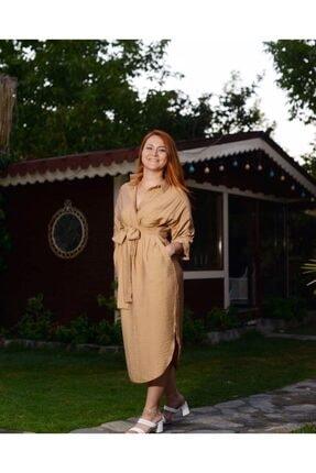 CALALUNA Kadın Bej Gömlek Elbise 2