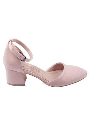 Ayakland 111012-347 Kadın Pudra 5 cm Topuk Süet Sandalet Ayakkabı 2