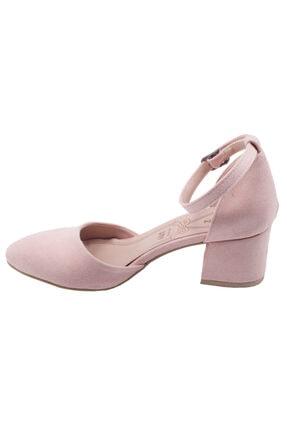 Ayakland 111012-347 Kadın Pudra 5 cm Topuk Süet Sandalet Ayakkabı 3