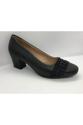 Kadın Siyah Kısa Topuklu Ayakkabı klasik topuklu ayakkabı 000016