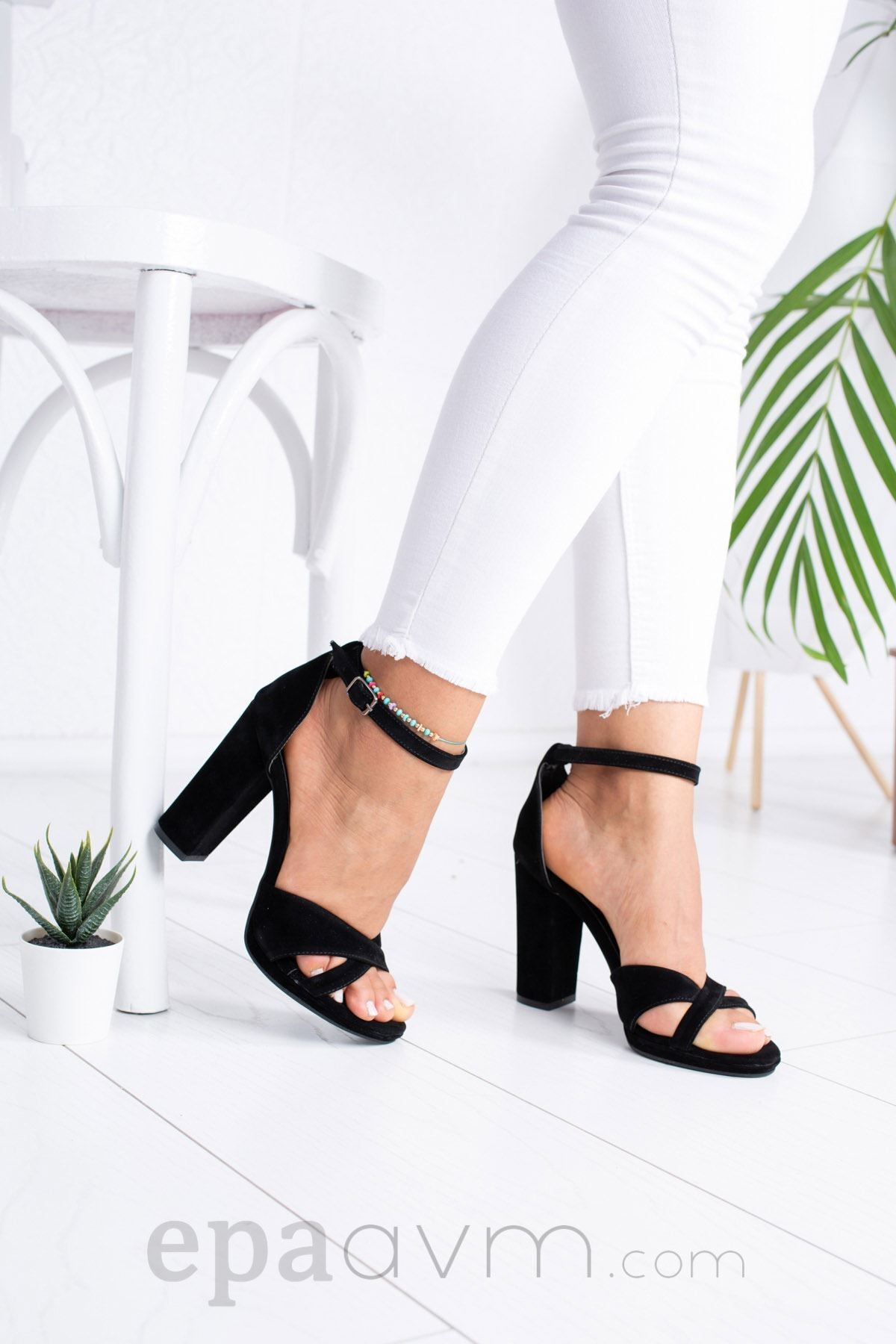 epaavm Kadın Siyah Platform Çapraz Bant Cilt Ayakkabı