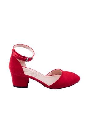 Ayakland Kadın Kırmızı Süet Topuklu Ayakkabı 2