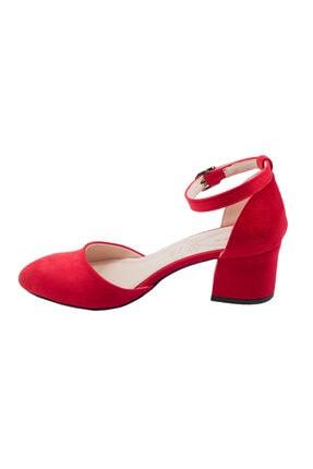 Ayakland Kadın Kırmızı Süet Topuklu Ayakkabı 3