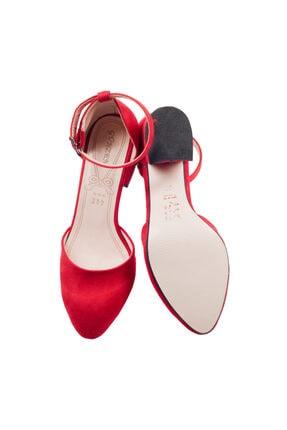Ayakland Kadın Kırmızı Süet Topuklu Ayakkabı 4