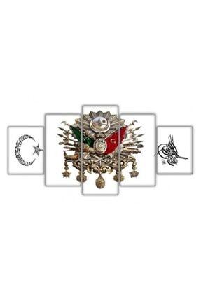 Tesbihname 5 Parça Ayyıldız Osmanlı Devlet Armalı Tuğralı Kanvas Tablo 0