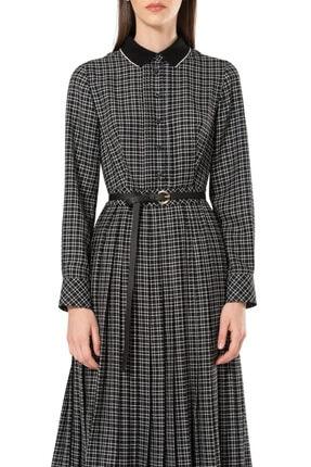 BİRELİN Kadın Siyah Triko Yakalı Kareli Elbise 1