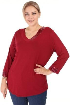 Kadın  Bordo Büyük Beden Yakası Payet Detay V Yaka Bluz resmi