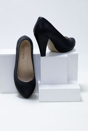 epaavm Kadın  Siyah Cilt Ayakkabı 10'luk Platform Dekolte 2