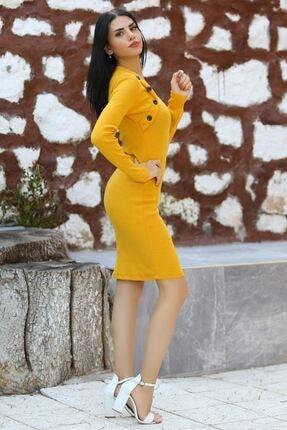 Modaymış Kadın Sarı Düğme Detaylı Elbise 1