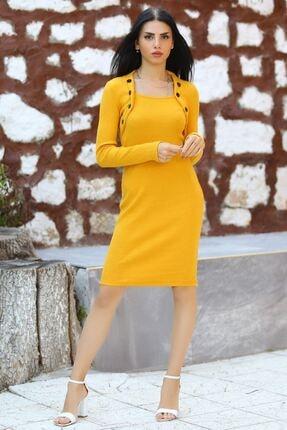 Modaymış Kadın Sarı Düğme Detaylı Elbise 2