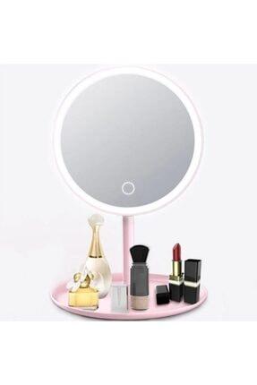 365GUNSERİSONU 90 Derece Dönebilen Pembe Şarjlı Led Dokunmatik Ayaklı Masa Makyaj Aynası 0