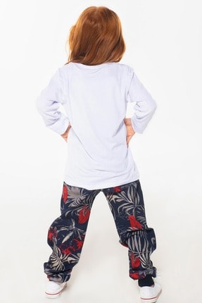 ZENOKIDO Çiçekli Kız Çocuk Pantolon + Tshirt Takım 1