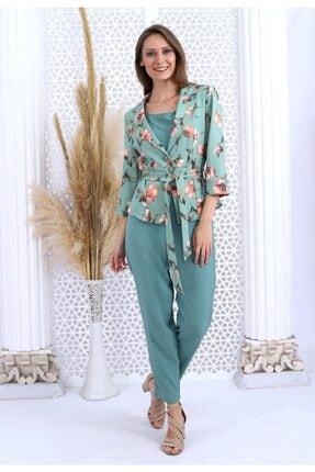 HOPANNİ Kadın Mint Çiçek Desenli Ceket Düz Elbise Takım 1