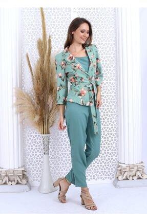 HOPANNİ Kadın Mint Çiçek Desenli Ceket Düz Elbise Takım 3