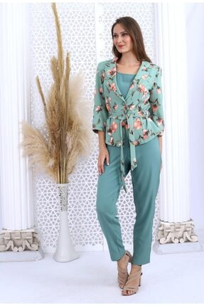 HOPANNİ Kadın Mint Çiçek Desenli Ceket Düz Elbise Takım 4