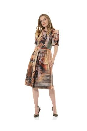 BİRELİN Kadın Kahverengi Midi Elbise 2