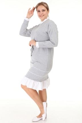 Lir Kadın Gri Büyük Beden Eteği Fırfır Uzun Kollu Elbise L1632 3