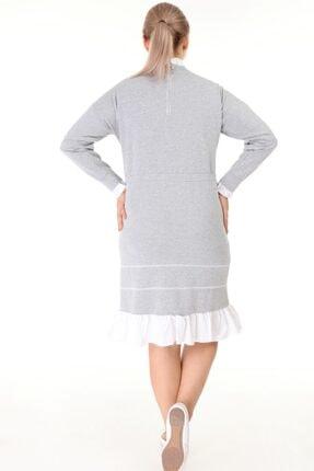 Lir Kadın Gri Büyük Beden Eteği Fırfır Uzun Kollu Elbise L1632 4