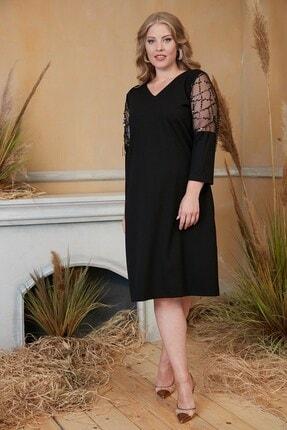 Rmg Kadın Siyah Kolları Pul Payet İşlemeli Büyük Beden Siyah Abiye Elbise 2