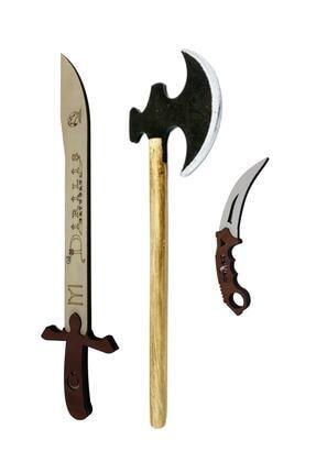 Ahtek Ahşap Kılıç + Balta + Karambit Seti 1