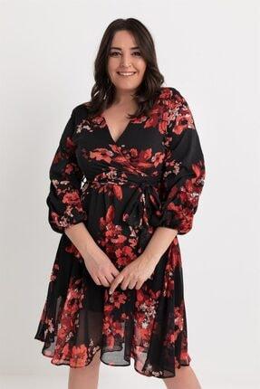 Elbise Delisi Kadın Siyah Midi Şifon Büyük Beden Elbise 1