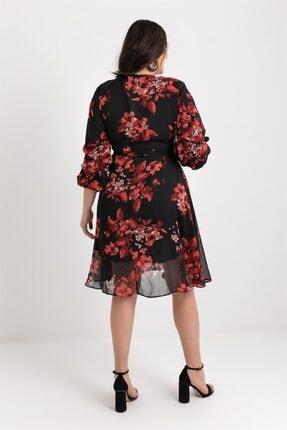 Elbise Delisi Kadın Siyah Midi Şifon Büyük Beden Elbise 3