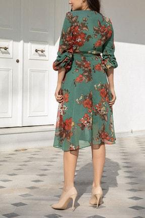 Elbise Delisi Kadın Yeşil Midi Şifon Büyük Beden Elbise 2