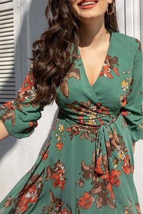 Elbise Delisi Kadın Yeşil Midi Şifon Büyük Beden Elbise 3