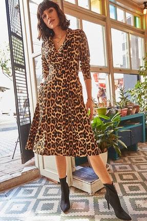 Elbise Delisi Kadın Kahverengi Leopar Desenli Midi Boy Kruvaze Yaka Kemerli Elbise 0