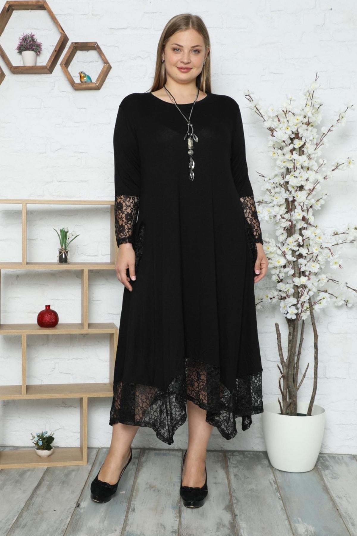 Kol, Cep Ve Etek Ucu Dantel Detaylı Uzun Kollu Elbise