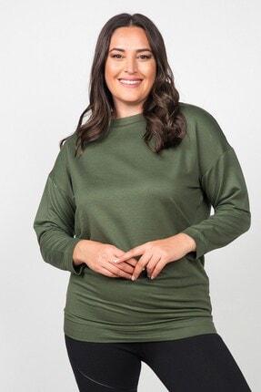 Womenice Kadın Haki Düz Kesim Büyük Beden Sweatshirt 1