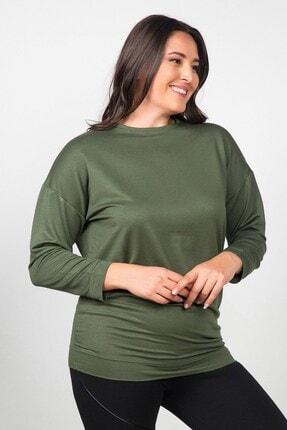 Womenice Kadın Haki Düz Kesim Büyük Beden Sweatshirt 2