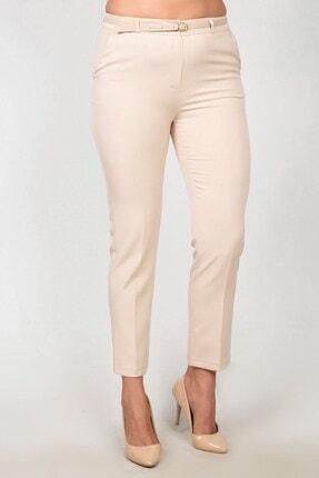 Womenice Kadın Krem Yüksek Bel Klasik Kumaş Pantolon 1