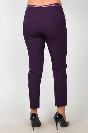 Womenice Kadın Mürdüm Bel Klasik Kumaş Büyük Beden Pantolon 3