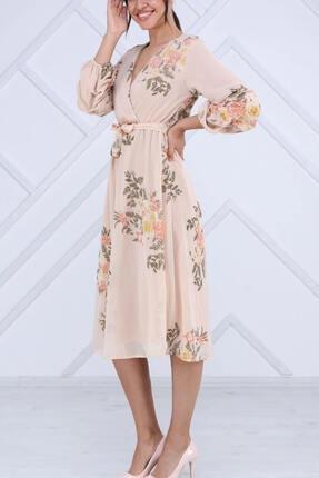 Elbise Delisi Kadın Bej Büzgülü Kol Midi Şifon Büyük Beden Elbise 1