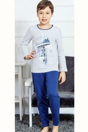 تصویر از Erkek Çocuk Gri Melanj İki İplik O Yaka Uzun Kol Paçası Manşetli Pijama Takım 6033