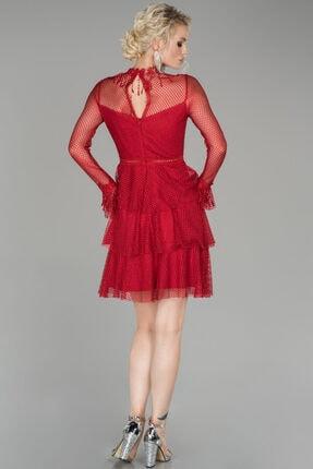 Abiyefon Kadın Kırmızı Kısa Güpürlü Mezuniyet Elbisesi 1