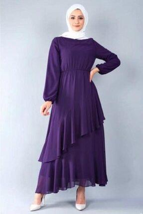 adressbutik Kadın Mor Asımetrik Volanlı Şifon Elbise 0
