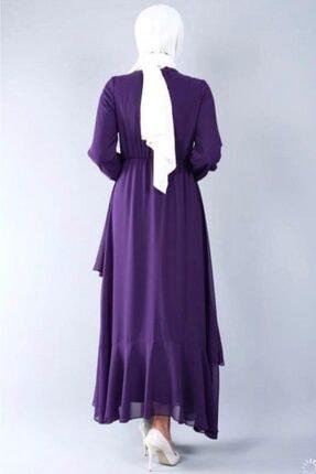 adressbutik Kadın Mor Asımetrik Volanlı Şifon Elbise 3
