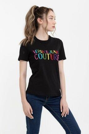 Versace Renkli Logo Baskılı Embro Pamuklu Kadın T-shirt 1
