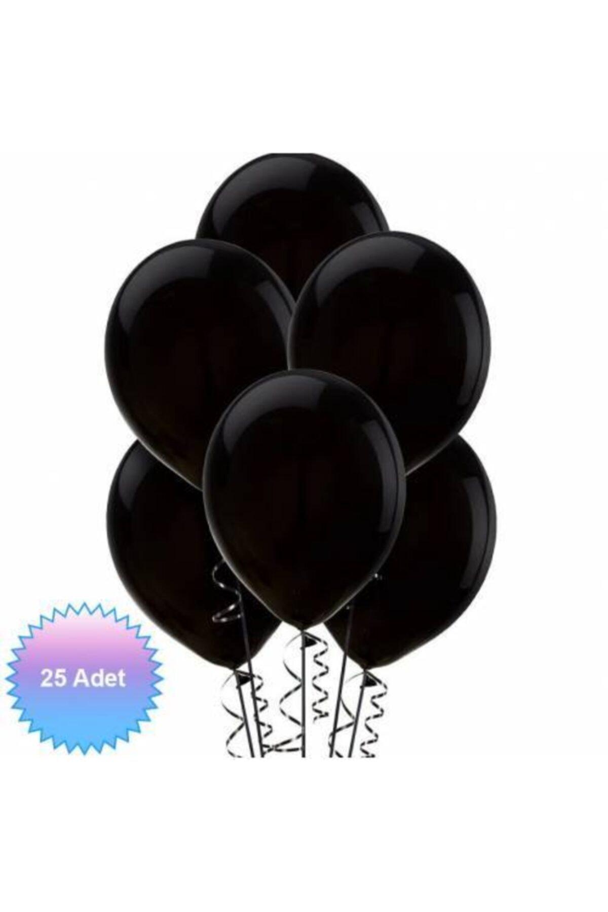 """Pastel Balon 12 """" Inç Siyah Renk 25 Adet"""