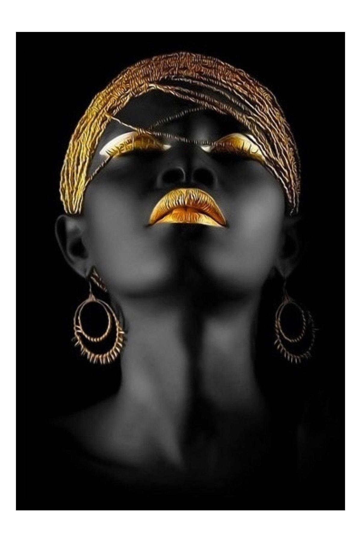 Kanvas Tablo Afrikalı Kadın Tablosu 50x100 Cm Yaylera Dekoratif Moda Duvar Dekorasyon Tablo